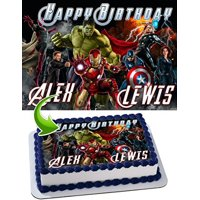 Anvengers Hulk, Iron Man, Thor, Captain America Edible Cake Topper Personalized Birthday 1/4 Sheet Decoration Custom Sheet Birthday Frosting Transfer Fondant Image
