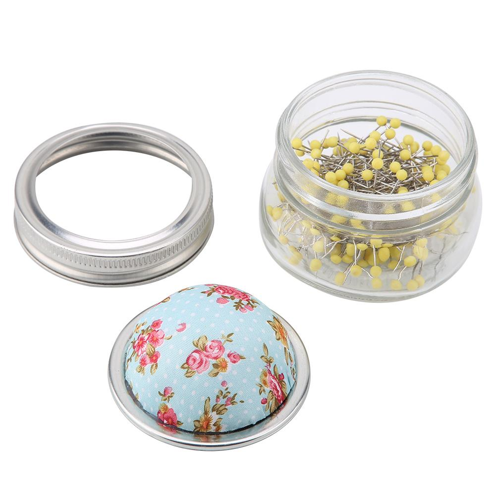 Garosa Sewing Pin Cushion Glass Bottle Round Pearl Large Headed Stainless Steel Pins Holder DIY Sewing Kit Perfect for Home Decoration
