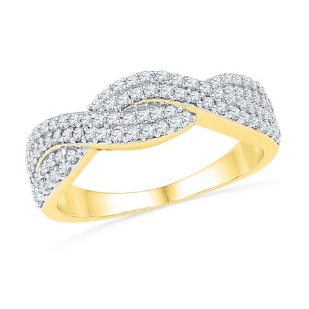 Size - 7 - Solid 10k White and Yellow Two Toned Gold Round White Diamond Channel Set Curved CrossOver Wedding Band OR Fashion Ring (1/2 (Gold Tone White Curves)