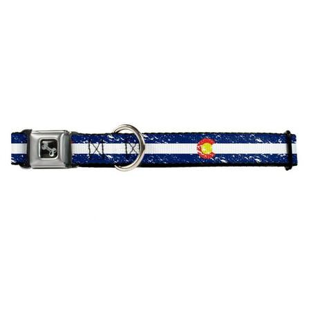 California Republic Distressed Blue And White Stripe Animal Seatbelt Pet Collar