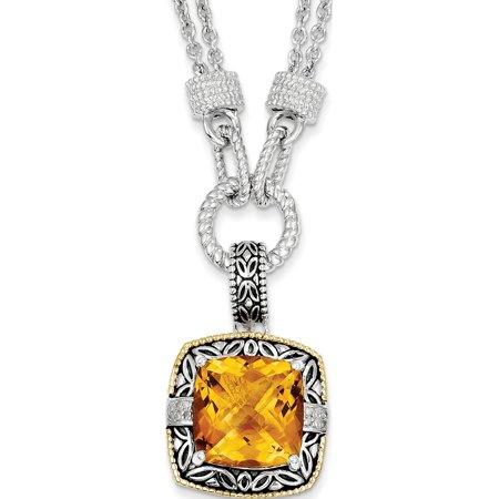 14k / argent deux tons w / Citrine et diamants Collier - image 2 de 2