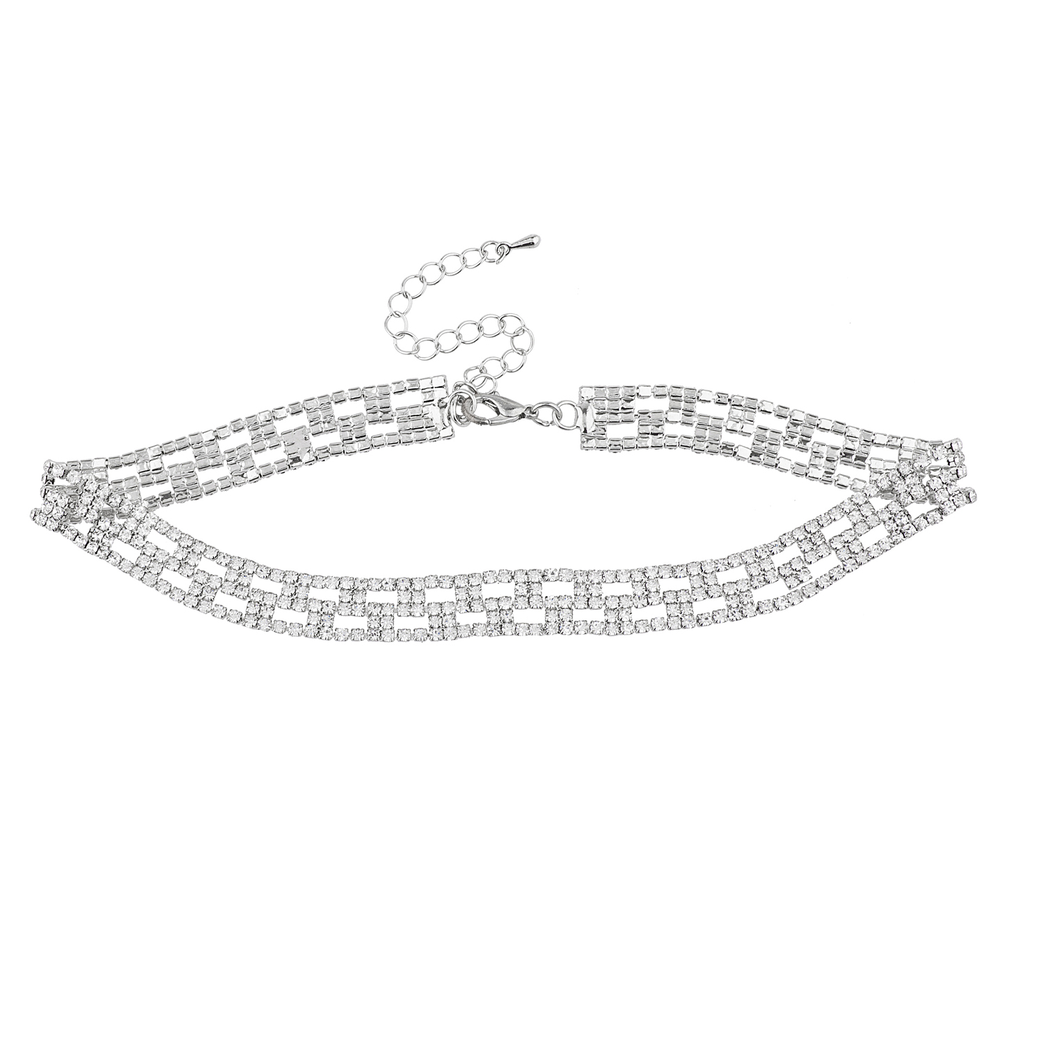 Lux Accessories Silver Tone Faux Crystal Rhinestone Choker Necklace
