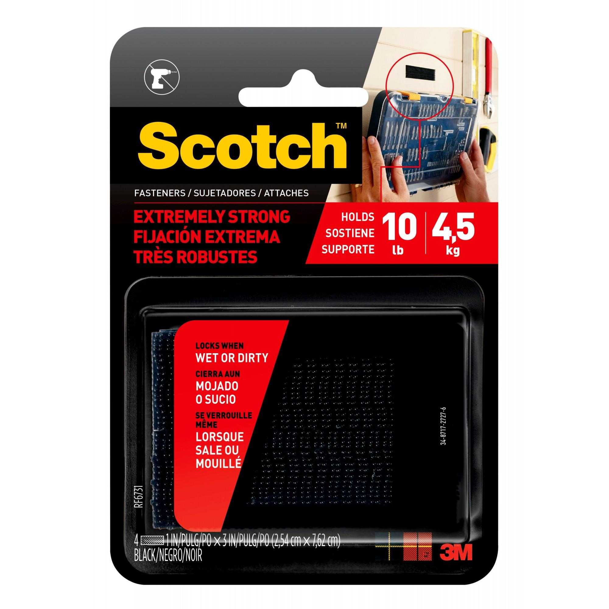 Scotch Extreme Fasteners, 1 in. x 3 in., Black, 2 Sets of Strips/Pack