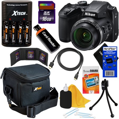 Nikon COOLPIX B500 16MP Wi-Fi, NFC Digital Camera w/40x Zoom & HD Video (Black) + 4 AA Batteries with Charger + 9pc 16GB Accessory Kit w/ HeroFiber Cleaning (4 X Digital Zoom Model)