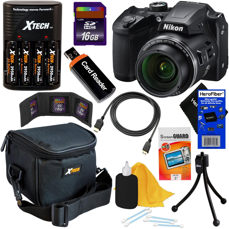 Nikon COOLPIX B500 16MP Wi-Fi, NFC Digital Camera w/40x Zoom & HD Video (Black) + 4 AA Batteries with Charger + 9pc 16GB Accessory Kit w/ HeroFiber Cleaning Cloth