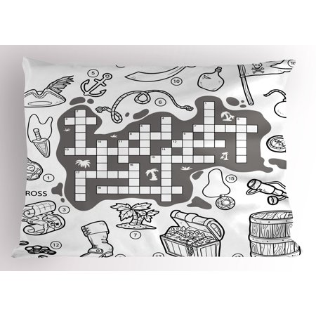 Word Search Puzzle Pillow Sham Colorless Pirates Themed Educational Puzzle Treasure Map and Icons, Decorative Standard Size Printed Pillowcase, 26 X 20 Inches, Grey Black White, by Ambesonne (Theme Pirate)