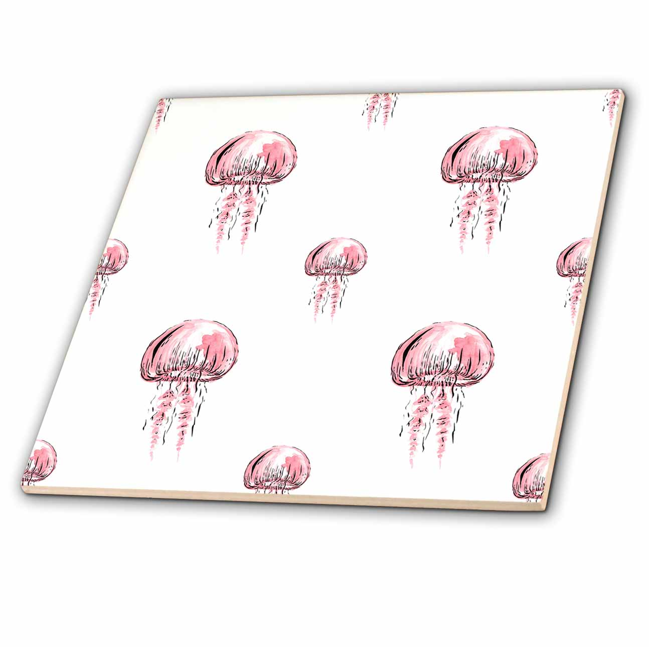 3dRose Pretty Pink Jelly Fish Pattern - Ceramic Tile, 4-inch