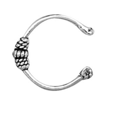 Sterling Silver Wrapped Wire Charmed Band Bali Middle Inner Ear Or Outer Ear (Bali Ear Cuff)