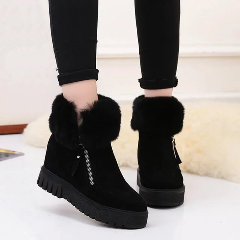 Black Women Short Ankle Boots Korean Style Thick Sole Boots Winter Snow Boots Fashion Footwear Warm Shoes Inner... by