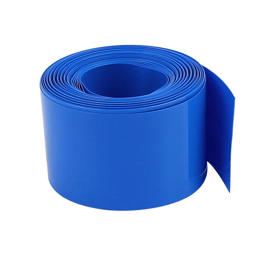 32mm Flat Width 2.1M Length PVC Heat Shrink Tube Blue for 18650 Battery Pack