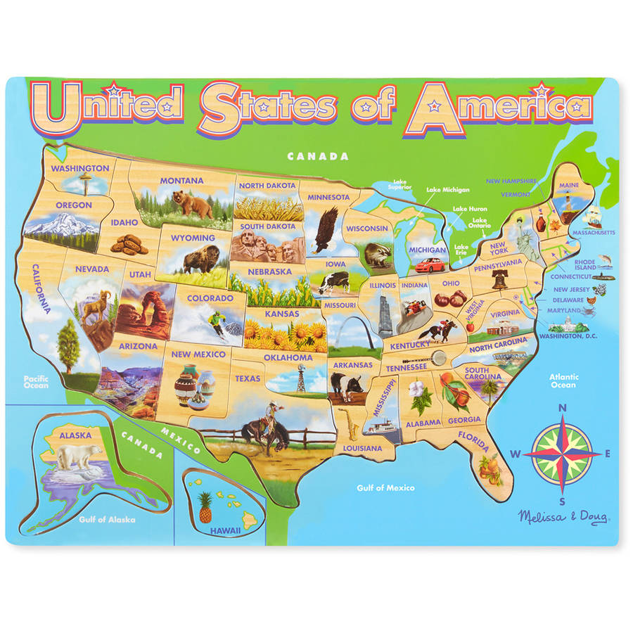 Melissa Doug USA Map Wooden Jigsaw Puzzle 45pc Walmartcom