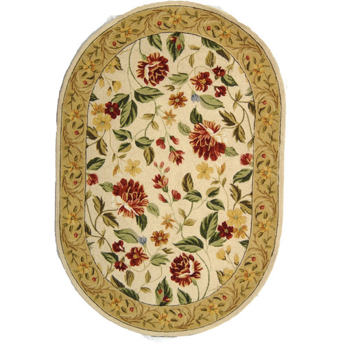 Ivory & Multi Floral Oval Rug with Border