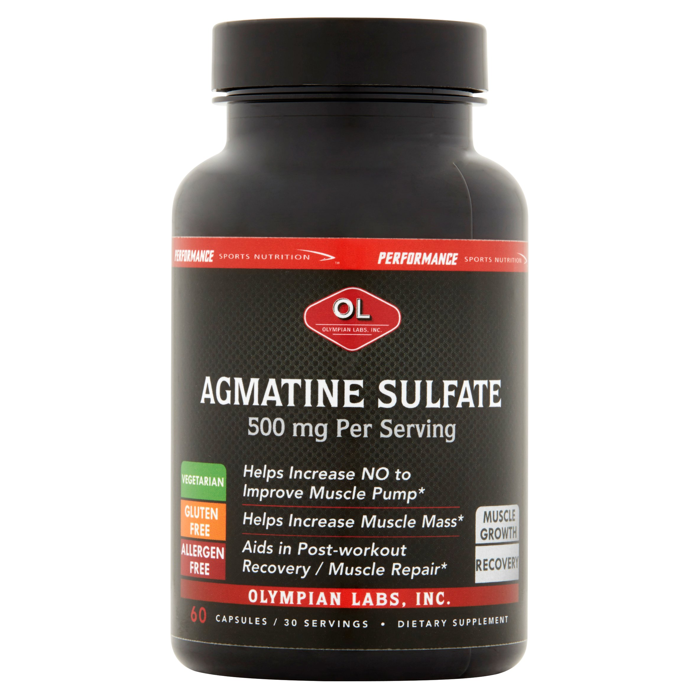 Olympian Labs Agmatine Sulfate Dietary Supplement, 500mg, 60 count