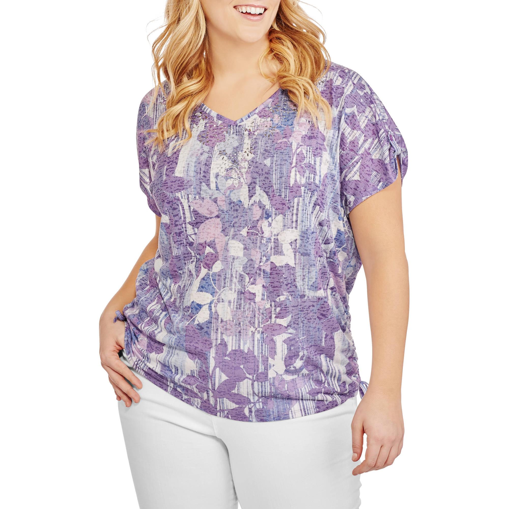 Erika Women's Plus Embellished Dolman Shirt with Side Tie