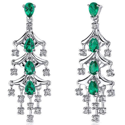 Oravo Captivating Seduction 4.00 Carats Pear Cut Emerald Dangle Earrings