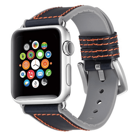 Hybrid Band Leather Watch Strap for Apple Watch 40mm / 38mm - Blue Grey ()