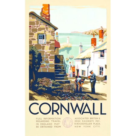 Attributed to artist John Francis Bee to promote rail travel to the county of Cornwall from Paddington Station London Boasting color as crisp as the day it was printed the poster brings to life the cr ()