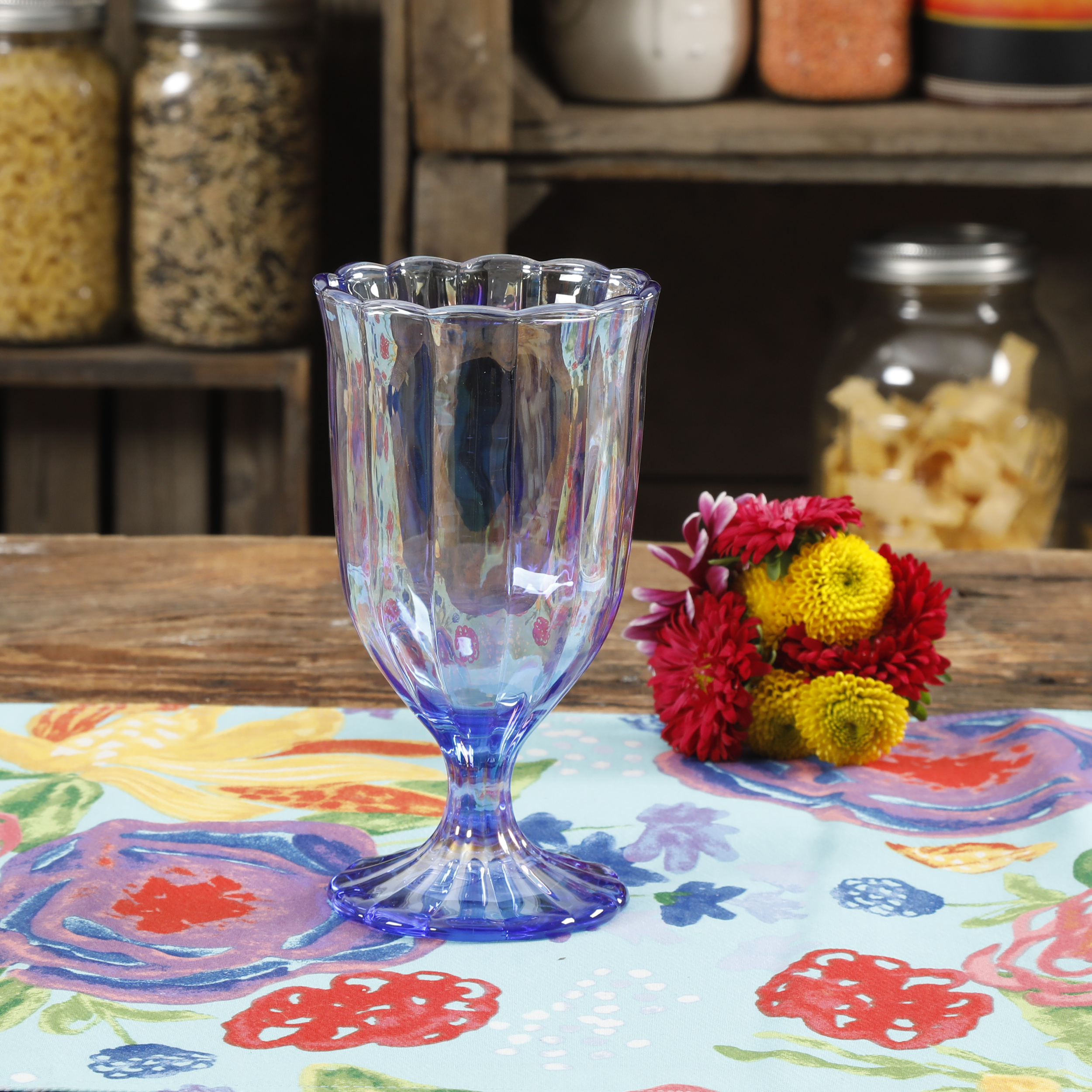 The Pioneer Woman Luster Glaze 12.5oz Blue Pearlized Goblet