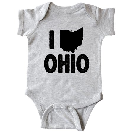 I Love Ohio with State Silhouette Infant Creeper - Ohio State Baby Clothes