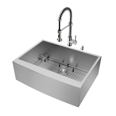 """Vigo VG15236 30"""" Single Basin Farmhouse Apron Front Kitchen Sink with Edison Stainless Steel Finish Faucet and Soap Dispenser - Sink Accessories Included"""