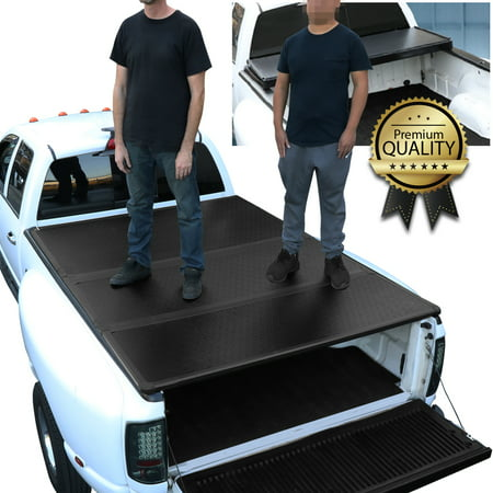 Hard Truck Bed Tonneau Covers - For 2015 to 2018 Ford F150 Truck 6.5Ft Short Bed Hard Solid Tri -Fold Clamp -On Tonneau Cover 16 17