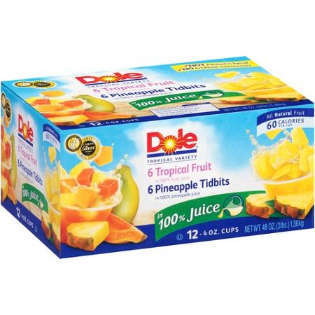 Dole Tropical Variety Tropical Fruit & Pineapple Tidbits Fruit Cups, 12 ct