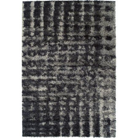 Berkley Aspire Area Rugs - AT4 Shag & Flokati Ash Grid Blocked Lines Squares (Ash Tone Block)