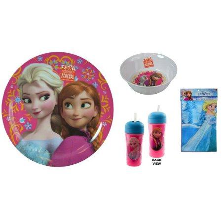 Frozen 4- Piece Mealtime Bundle Set, Anna- Elsa Plate, Tumbler, Bowl, Towel- - Frozen Party Tableware