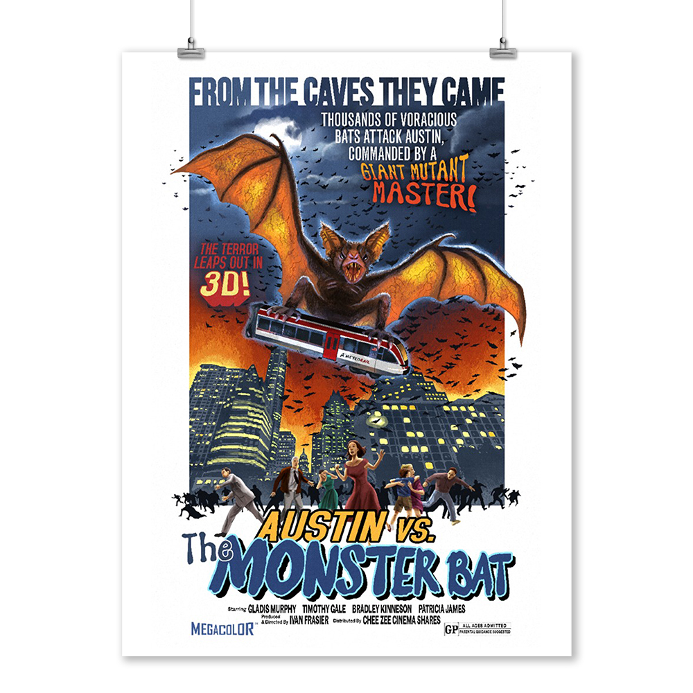 Austin, Texas - Austin vs The Monster Bat - B Movie Poster - Lantern Press Artwork (9x12 Art Print, Wall Decor Travel Poster)