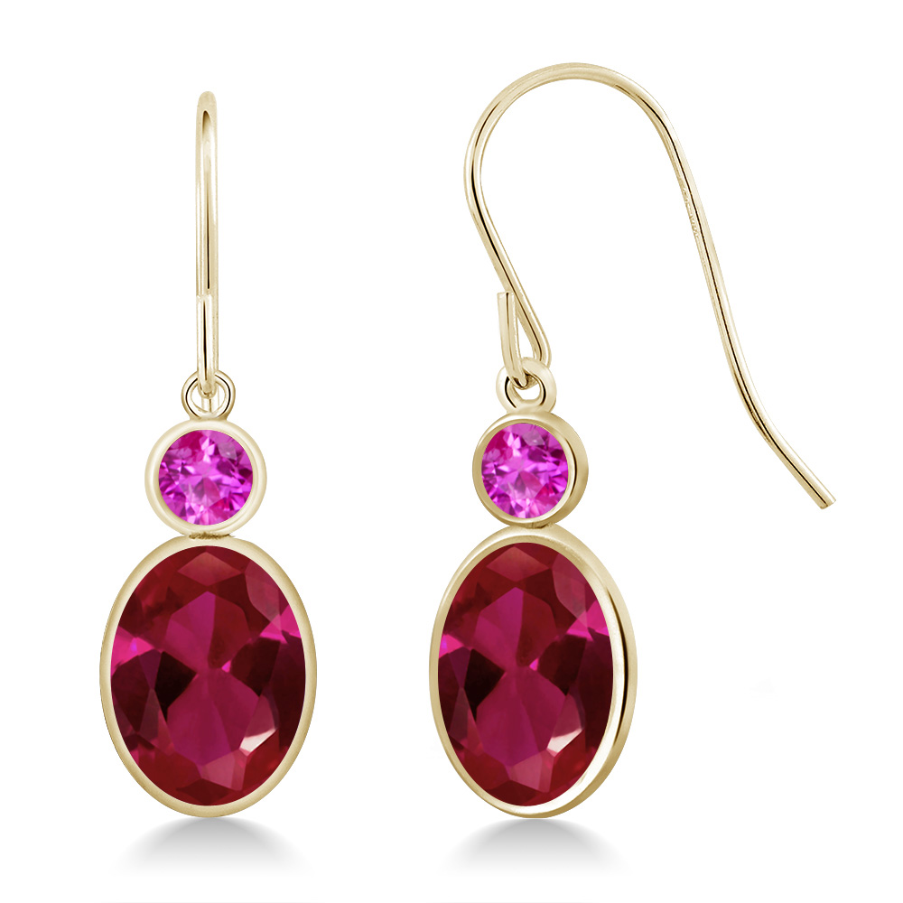 3.10 Ct Oval Red Created Ruby Pink Sapphire 14K Yellow Gold Earrings by