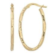 Fremada  10k Yellow Gold Textured Oval Hoop Earrings