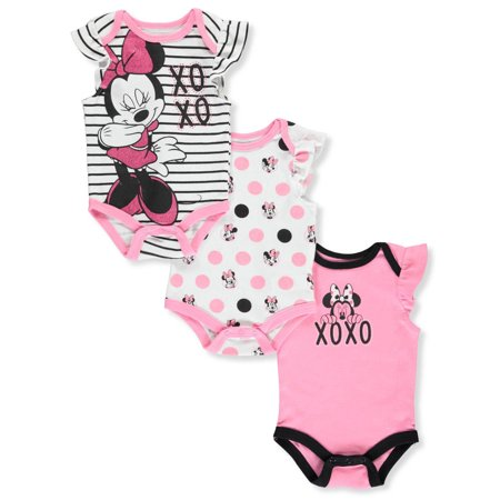 Disney Minnie Mouse Baby Girls' 3-Pack Bodysuits