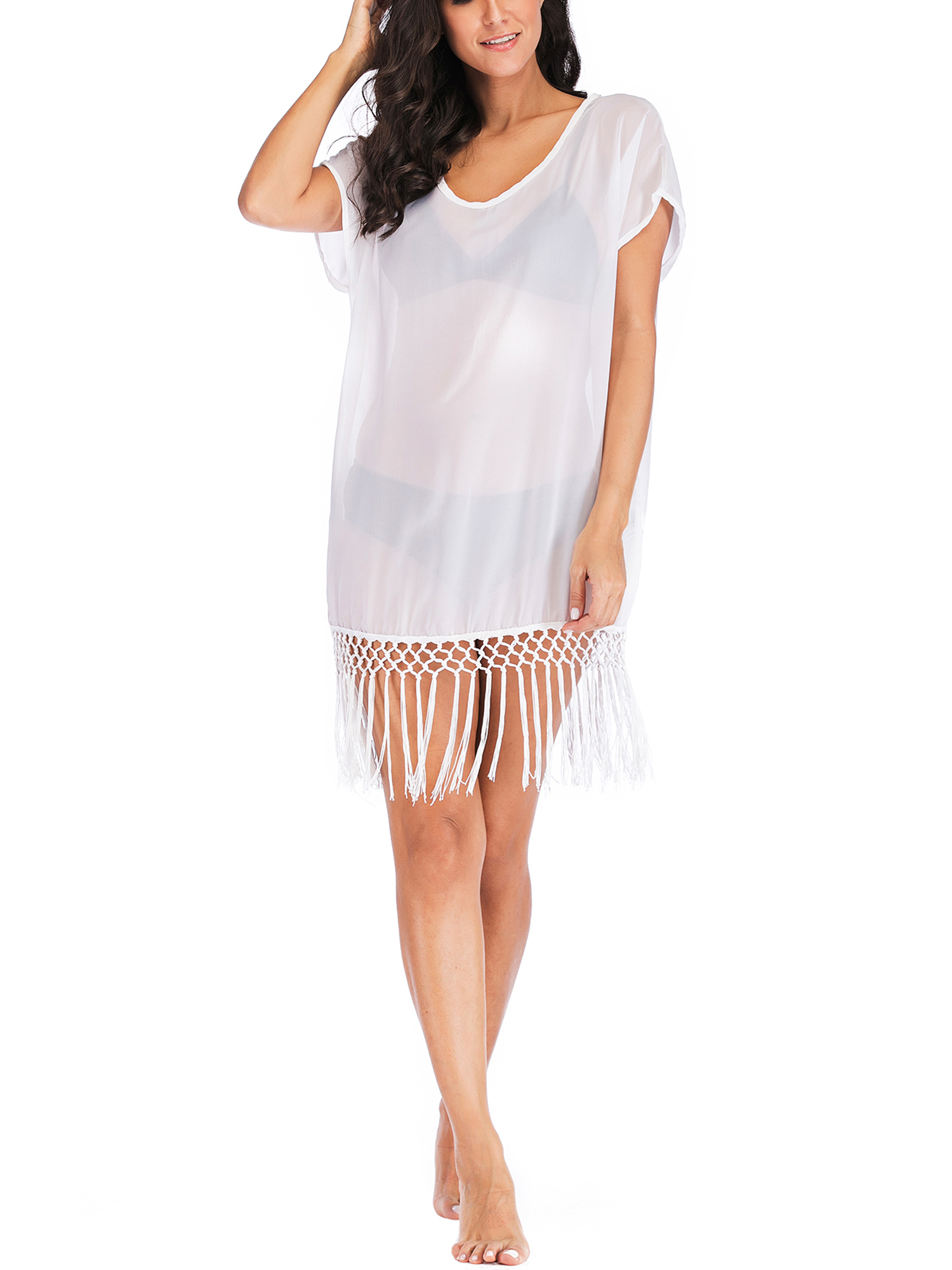 7db84ce2eba SAYFUT - SAYFUT Women Chiffon Tassel Swimsuit Cover up Beach Bikini Stylish  Pompom Tassel Trim Bathing Suit Swimwear Cover ups - Walmart.com