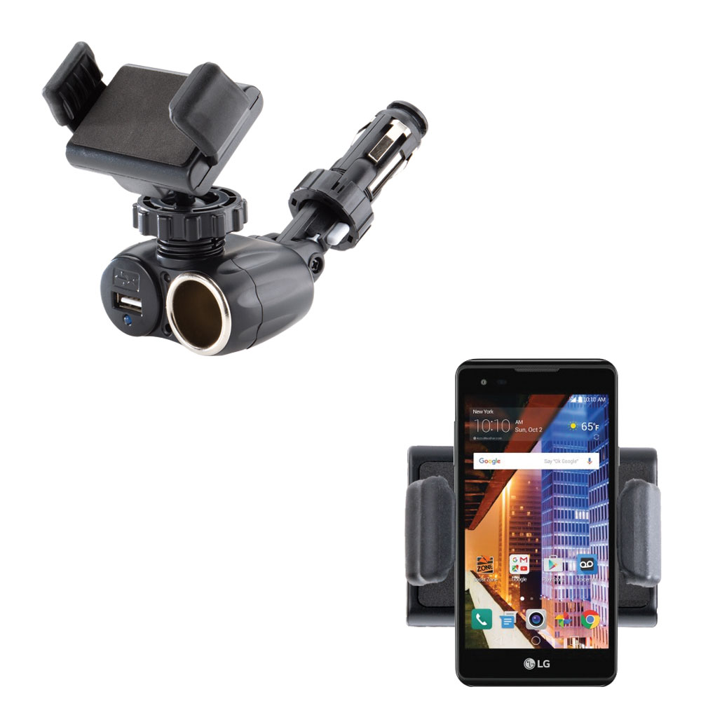 Dual USB / 12V Charger Car Cigarette Lighter Mount and Ultra Compact Holder for the LG Tribute HD