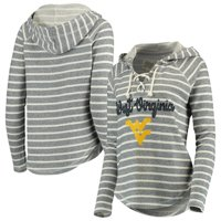 West Virginia Mountaineers Blue 84 Women's Striped V-Neck Lace-Up Pullover Hoodie - Cream/Navy