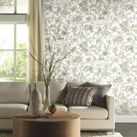 Neutral Watercolor Floral Peel and Stick Wallpaper