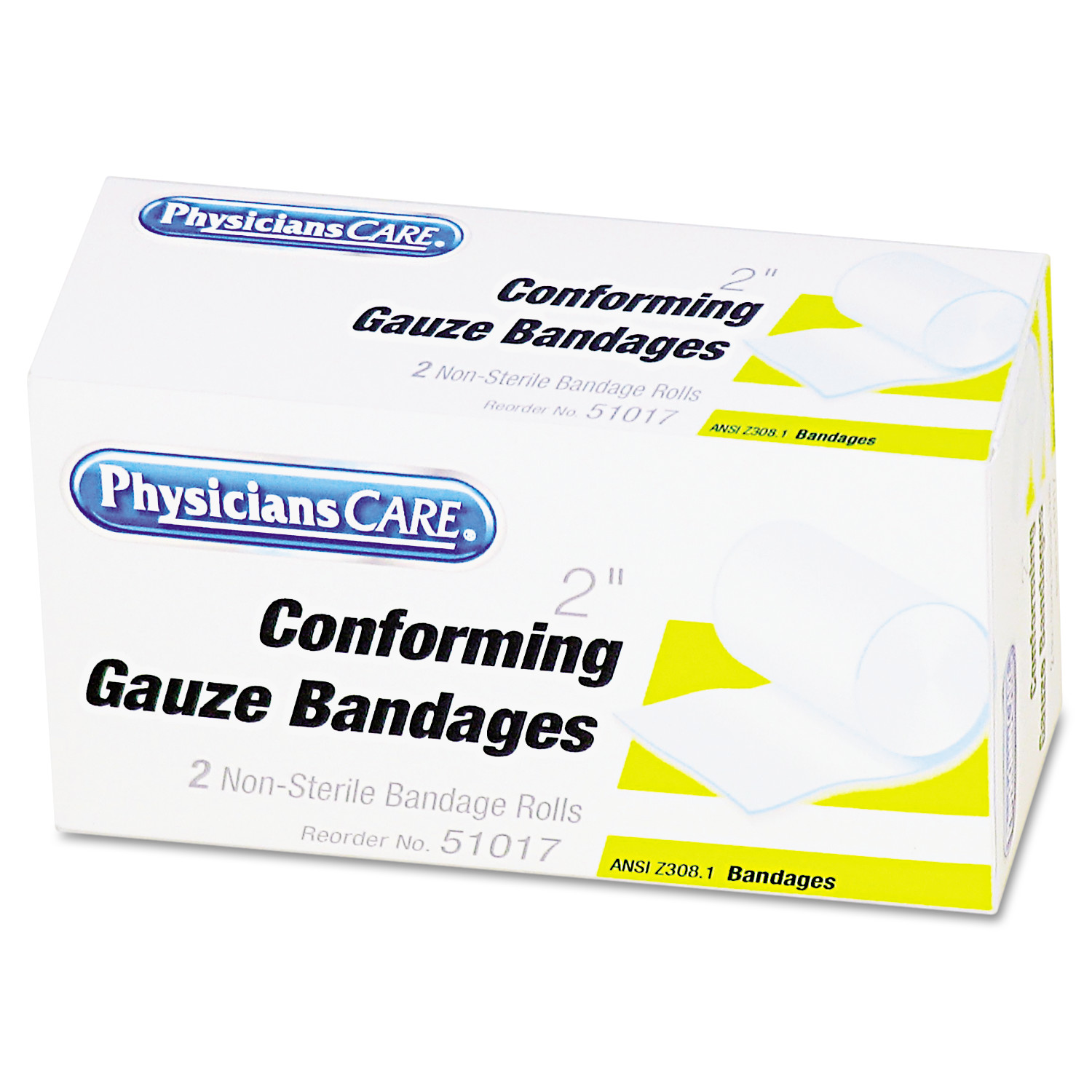 "PhysiciansCare by First Aid Only First Aid Conforming Gauze Bandage, 2"" wide, 2 Rolls/Box"