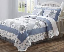 Legacy Decor 3pc Quilt Bedspread Coverlet Blue & White Floral Patchwork Design High... by