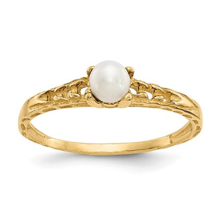 Roy Rose Jewelry 14K Yellow Gold Madi K 3mm Freshwater Cultured Pearl Birthstone Baby Ring ~ Size: 3 Pearl Rose Gold Ring