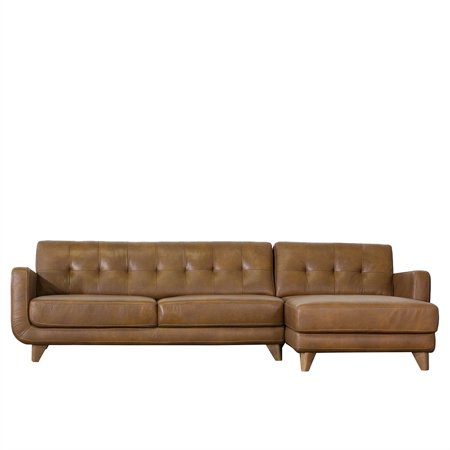 Tan Genuine Leather Sectional Sofa