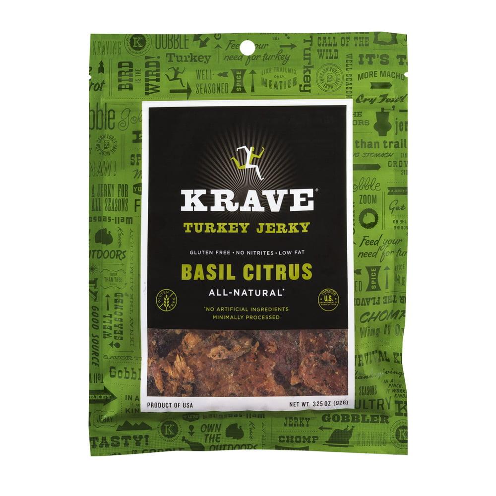Krave Basil Citrus Turkey Jerky, 3.25 oz by Krave Pure Foods, Inc.