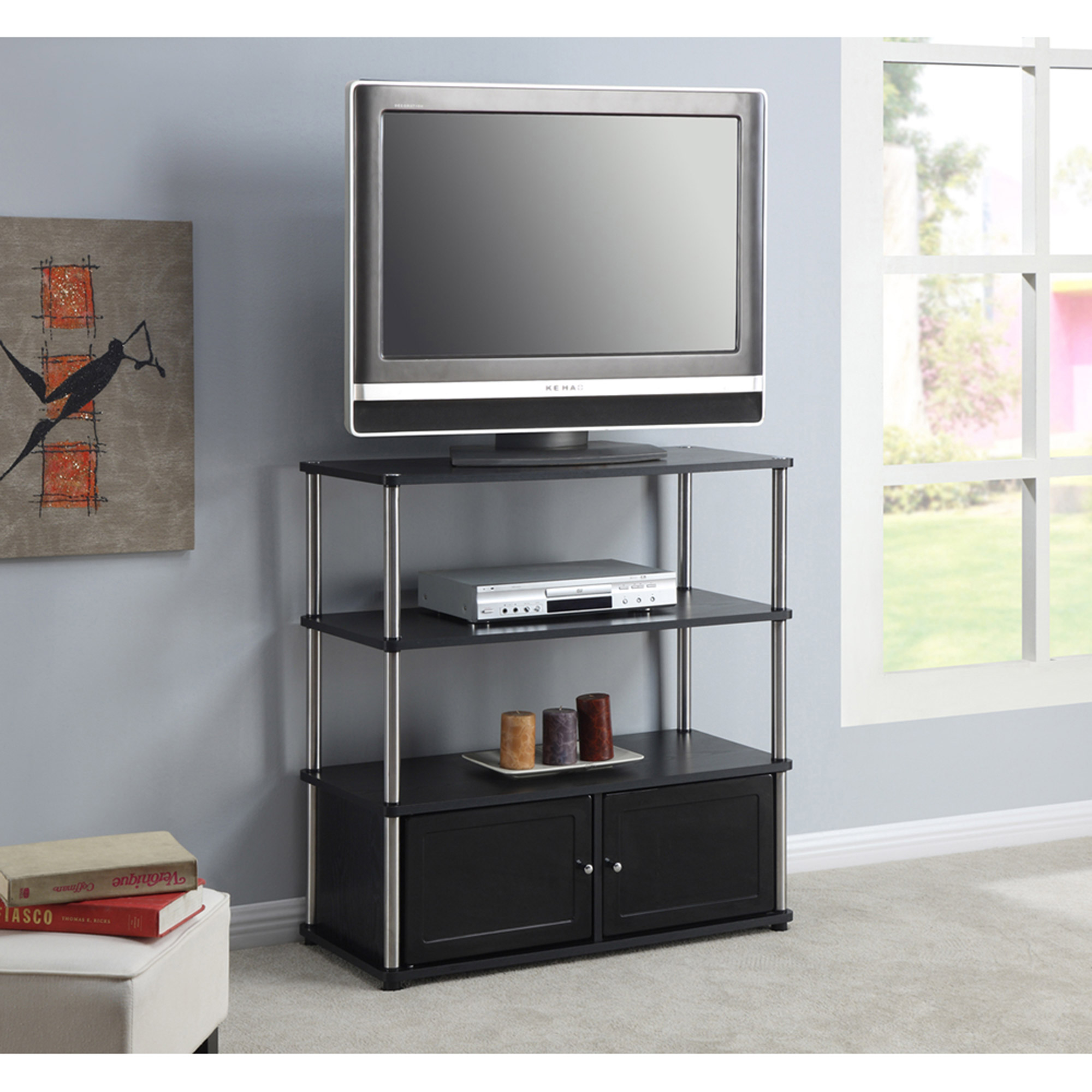 "Designs 2 Go High Boy TV Stand in Black, for TVs up to 37"" by Convenience Concepts"