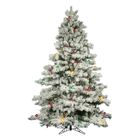 wholesale dealer 65bb9 ce85d Vickerman 9' Flocked Alaskan Pine Artificial Christmas Tree with 900  Multi-Colored Lights and 50 G50 Multi-Colored Lights