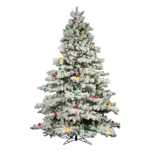 Vickerman 9' Flocked Alaskan Pine Artificial Christmas Tree with 900 Multi-Colored Lights and 50 G50 Multi-Colored Lights