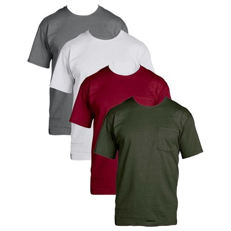Fruit of the Loom Mens 4Pack Assorted Pocket Crewneck T-Shirts Undershirts