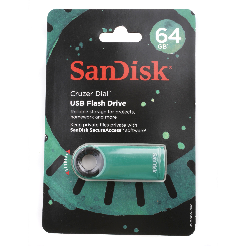 SanDisk Cruzer Dial 64GB USB Flash Drive, Green