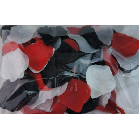 300pc Mixed Color Rose Petals Black, Red, White Wedding Table Decoration - Minted Wedding