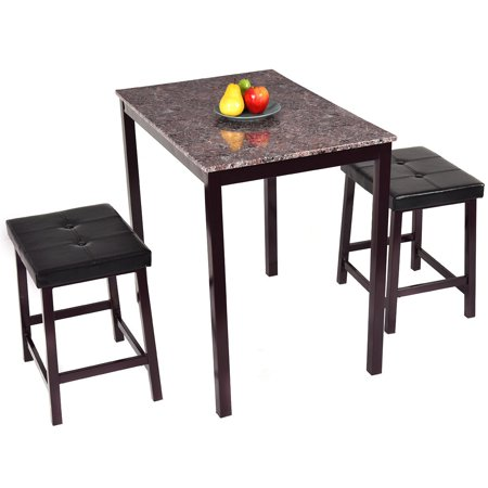 costway 3 pcs counter height dining set faux marble table 2 chairs kitchen bar furniture. Black Bedroom Furniture Sets. Home Design Ideas
