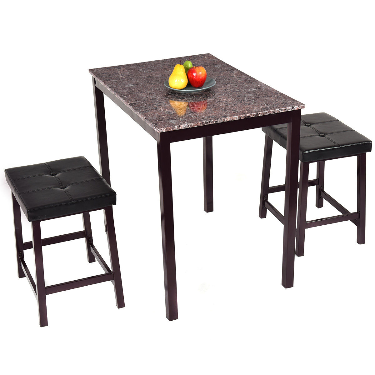Counter Height Kitchen Table With Bench In Preferential: Costway 3 PCS Counter Height Dining Set Faux Marble Table