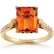 Annello 14k Goldplated Silver Orange Citrine and 1/6ct TDW Diamond Ring (G-H, I1-I2) Size 5.5